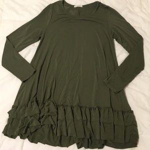 Tops - Olive Green Ruffle Tunic Shirt